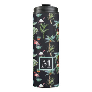 Watercolor Palm Pattern | Add Your Initial Thermal Tumbler