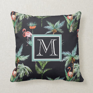 Watercolor Palm Pattern | Add Your Initial Throw Pillow