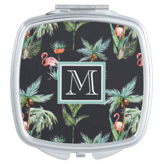 Watercolor Palm Pattern   Add Your Initial Vanity Mirror