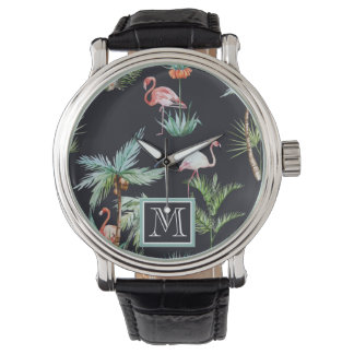 Watercolor Palm Pattern | Add Your Initial Watch