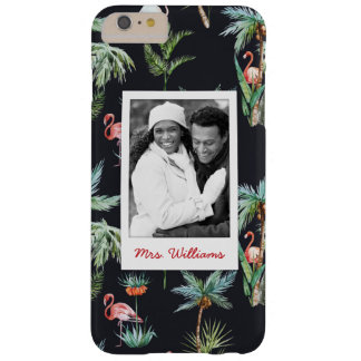Watercolor Palm Pattern | Add Your Photo & Name Barely There iPhone 6 Plus Case