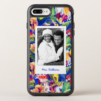 Watercolor Palm Pattern| Add Your Photo & Name OtterBox Symmetry iPhone 7 Plus Case