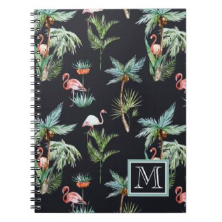 Watercolor Palm Pattern | Monogram Notebook