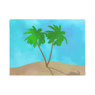 Watercolor Palm Tree Beach Scene Collage Doormat