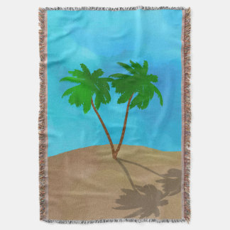 Watercolor Palm Tree Beach Scene Collage Throw Blanket