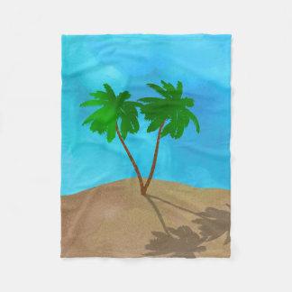 Watercolor Palm Tree Collage Fleece Blanket
