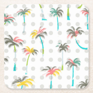 Watercolor Palm Trees 2 Square Paper Coaster