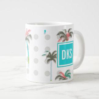 Watercolor Palm Trees | Monogram Giant Coffee Mug