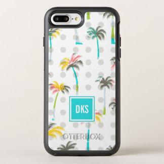 Watercolor Palm Trees | Monogram OtterBox Symmetry iPhone 8 Plus/7 Plus Case
