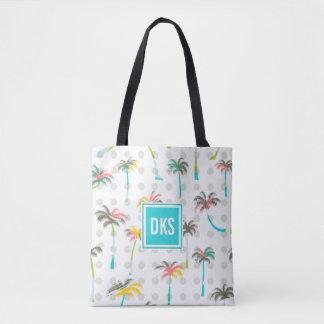 Watercolor Palm Trees | Monogram Tote Bag