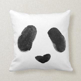 Watercolor Panda Heart Face Throw Pillow