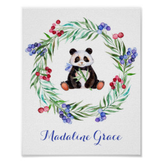 Watercolor Panda Nursery Art Poster
