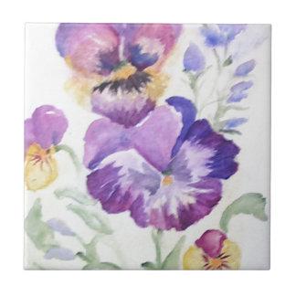 Watercolor pansies ceramic tile