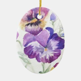 Watercolor pansies ornaments