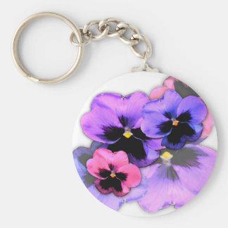 Watercolor Pansies Key Ring