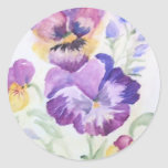 Watercolor pansies round sticker