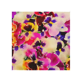 Watercolor Pansies Wood Prints