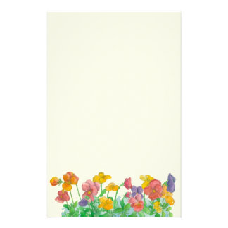 Watercolor Pansy Flowers Rainbow Colors Stationery