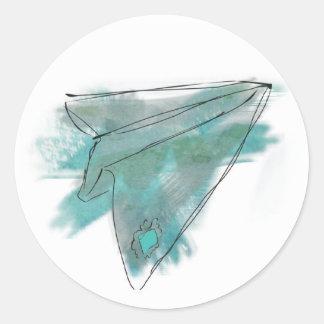 Watercolor Paper plane sticker