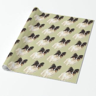 Watercolor Papillon Dog Pet Cute Animal  Art Wrapping Paper