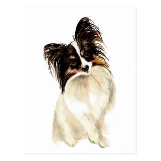 Watercolor Papillon Dog, Pet Postcard