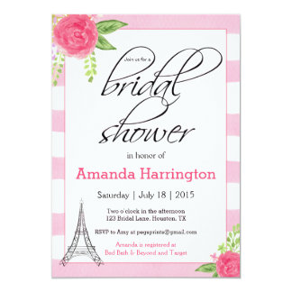 Watercolor Paris Bridal Shower Invitation - Pink