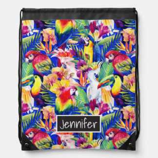 Watercolor Parrots | Add Your Name Drawstring Bag