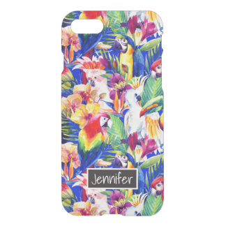 Watercolor Parrots | Add Your Name iPhone 8/7 Case