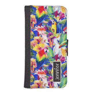 Watercolor Parrots | Add Your Name iPhone SE/5/5s Wallet Case