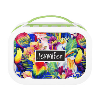 Watercolor Parrots | Add Your Name Lunch Box