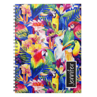 Watercolor Parrots | Add Your Name Notebook