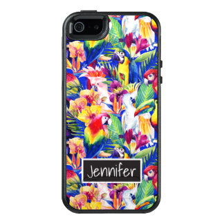 Watercolor Parrots | Add Your Name OtterBox iPhone 5/5s/SE Case