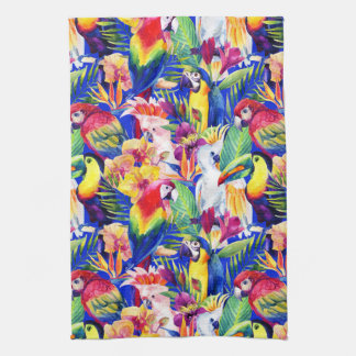 Watercolor Parrots Tea Towel