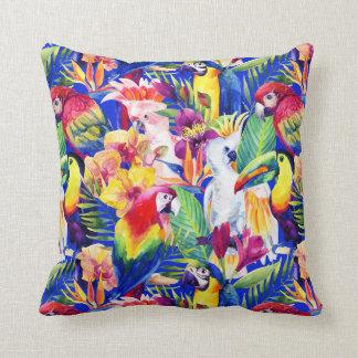 Watercolor Parrots Throw Pillow