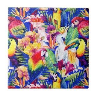 Watercolor Parrots Tile