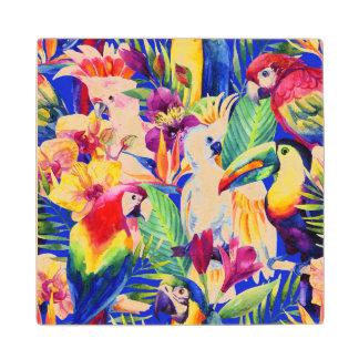 Watercolor Parrots Wood Coaster