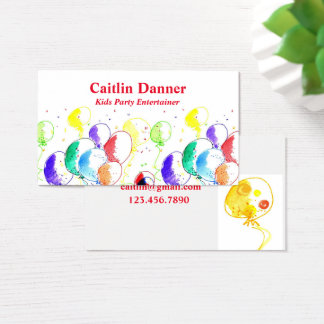 Watercolor Party Balloons Business Card