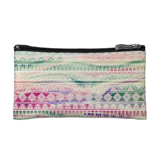 Watercolor Pastel Aztec Inspired Pattern Cosmetic Bags