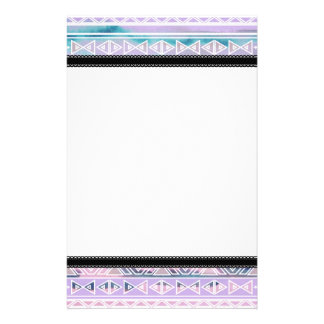 Watercolor Pastel Aztec Inspired Pattern Custom Stationery