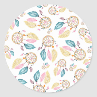 Watercolor pastel boho dreamcatcher pattern classic round sticker