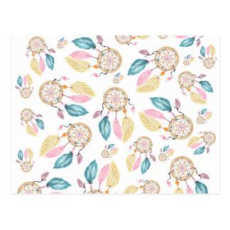 Watercolor pastel boho dreamcatcher pattern postcard