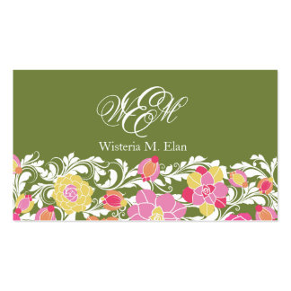 Watercolor Pastel Floral Monogram Business Card