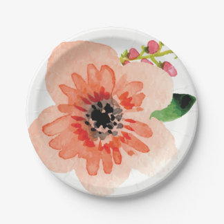 Watercolor Pastel Flower Design | Paper Plate 7 Inch Paper Plate