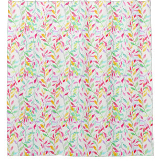 Watercolor pastel leaf pattern shower curtain