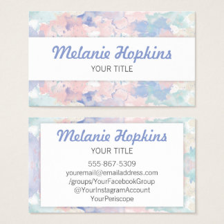 Watercolor Pastel Pink Blue Artistic Business Card