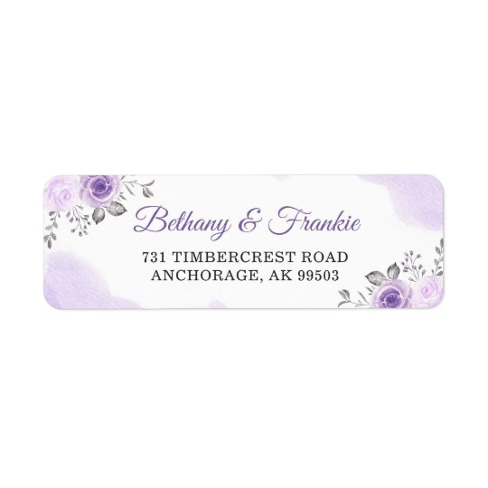 Watercolor Pastel Purple Floral Wedding Address