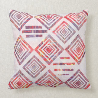 Watercolor Patchwork With White Pillow by KCS