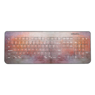 Watercolor Pattern Abstract Pinks and Purples Wireless Keyboard