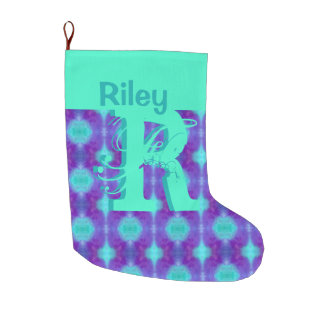 Watercolor Pattern I Large Christmas Stocking