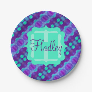 Watercolor Pattern II with Custom Text 7 Inch Paper Plate